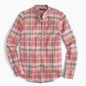 J. Crew Plaid Popover shirt Size 10
